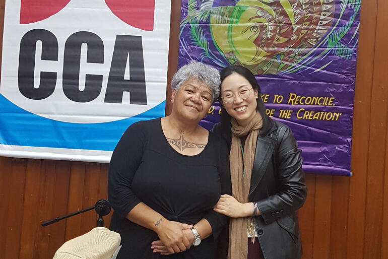 Rev Jacynthia Murphy with her Taiwanese workshop facilitator.