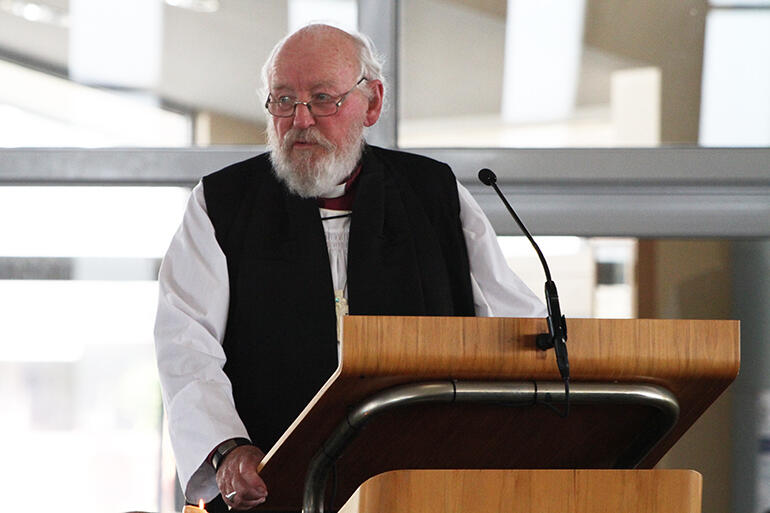 Bishop George Connor delivering his eulogy at Archdeacon Tiki Raumati's funeral in St Joseph's Church, New Plymouth, on September 3.