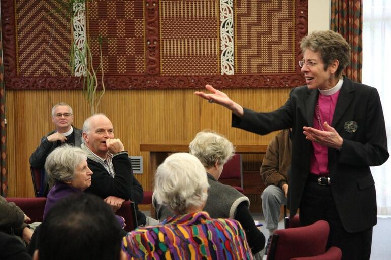Bishop Katharine moved into the gathering to engage with her questioners.