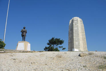 Ataturk and the New Zealand monument at Gallipoli.