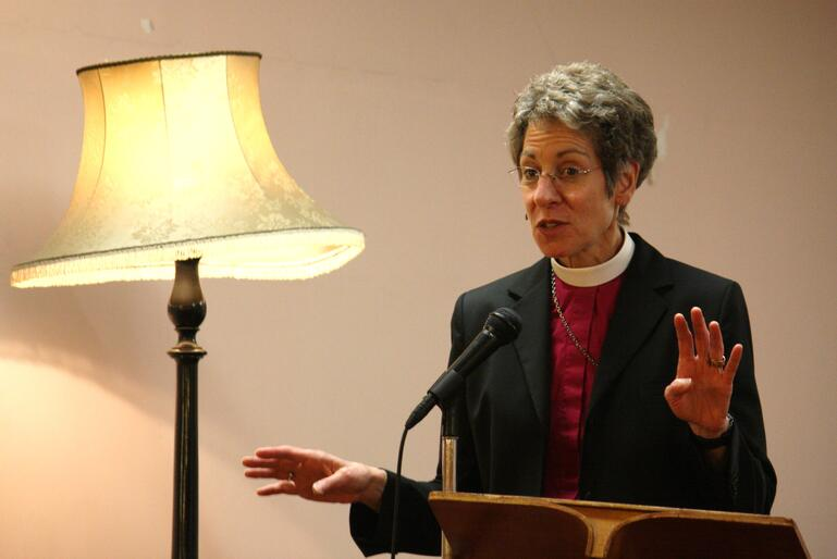Bishop Katharine at the Canterbury Women's Club.