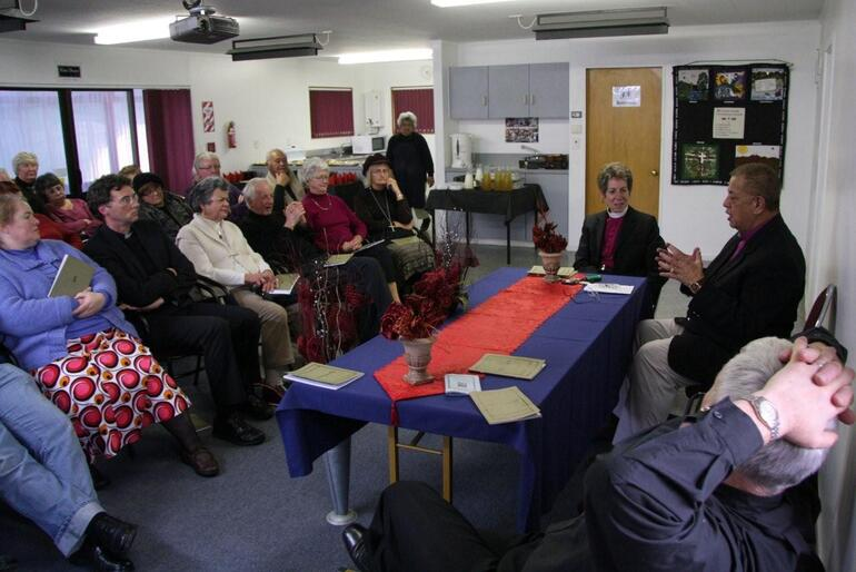 "Some of the folk who turned up for ""A conversation with Bishop Katherine"" at the Bishop's Centre, Te Hepara Pai, Christchurch."