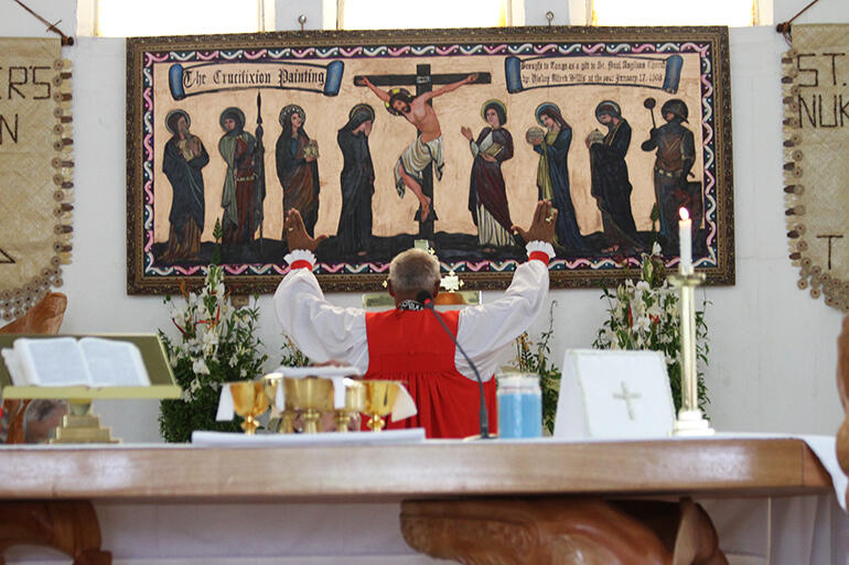 Archbishop Winston rededicates the restored painting on the Sunday. It had been given to St Paul's by Bishop Alfred Willis of Hawaii in 1903.