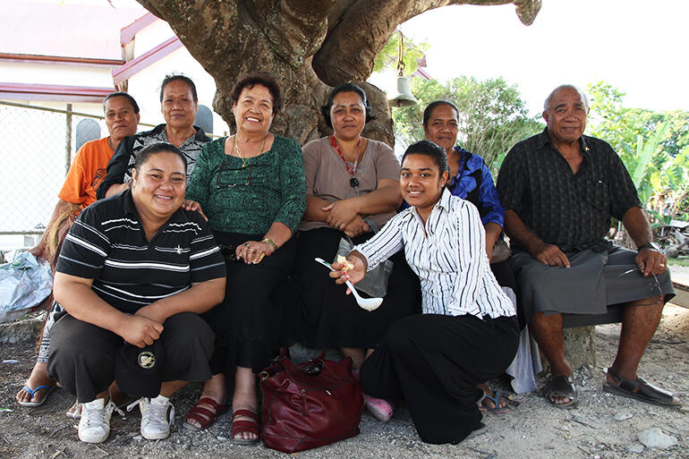 Back row, from left: Sela, Temaleti, Rev.Colleen, Vika, Keleni and Fr Joe. Front: Tupou and Kaufo'ou - all helped bring the project to pass.