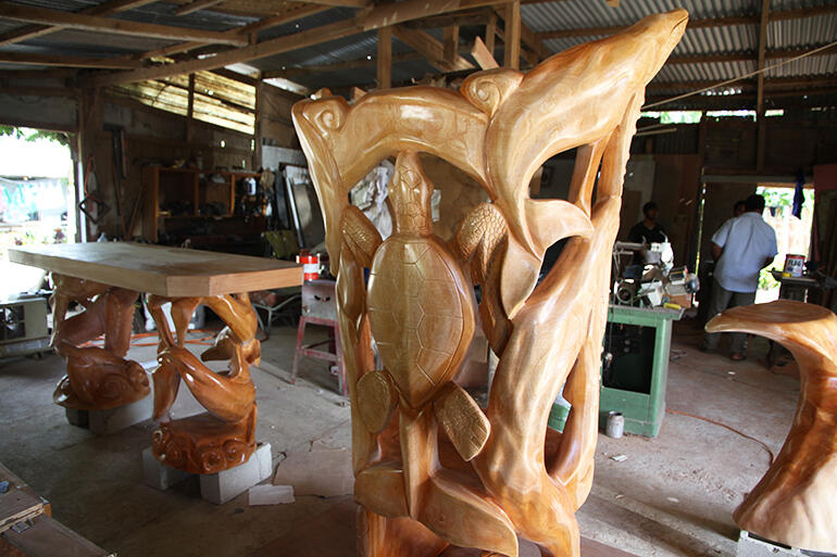 The back of the cathedra, in the Nuku'alofa workshop where the altar furniture was sanded and varnished.