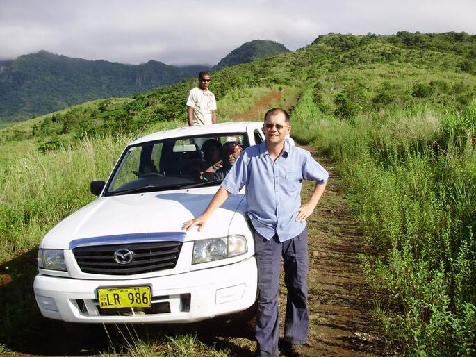 Andrew Duxfield frequently travelled off the beaten track in his efforts to bring clean water to Fijian villages.
