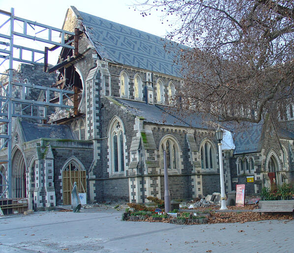 ChristChurch Cathedral, minus the rose window which is now strewn across the interior. Photo: TV One News