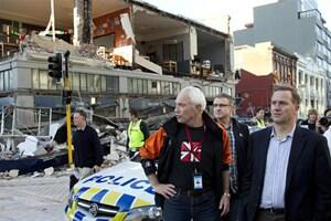 Prime Minister John Key on a damage tour with Mayor Bob Parker. Photo: Reuter