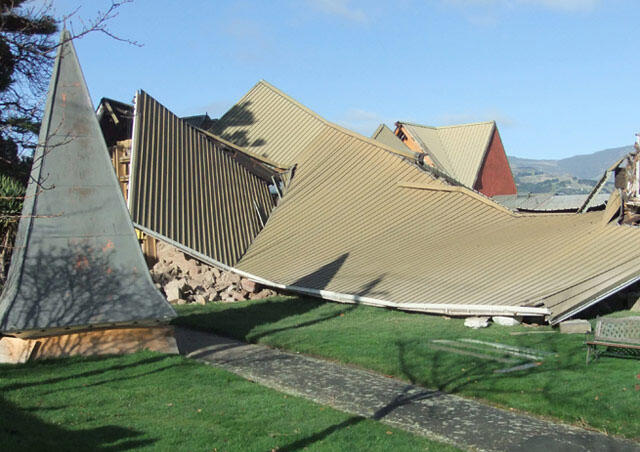 The remains of Lyttelton's Holy Trinity Church after the June 13 quakes. Photo: Chris Rudge