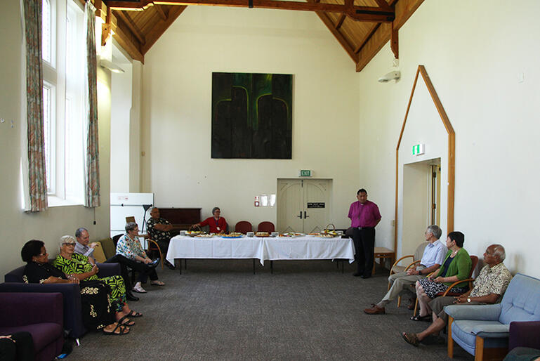 Bishop Kito welcomes people to the Patteson Centre, which was the site of the original library.