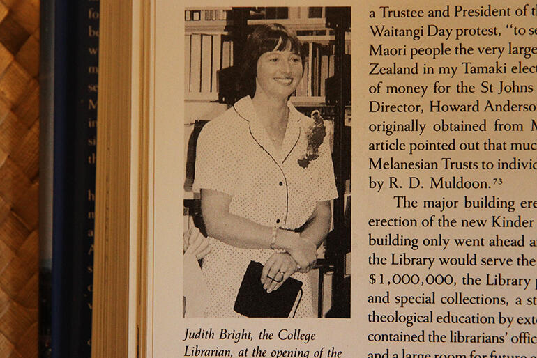 Judith in 1982, at the opening of the new Kinder Library. (As published in 'Selwyn's Legacy'.)