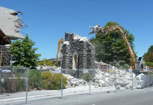 The tower of St Mary's, Merivale, is reduced to a pile of rubble.