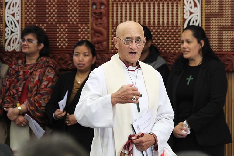 Bishop Muru Walters, seen here at St John's College, developed the Pihopatanga's 'Awhi Whanau' social justice training programme.