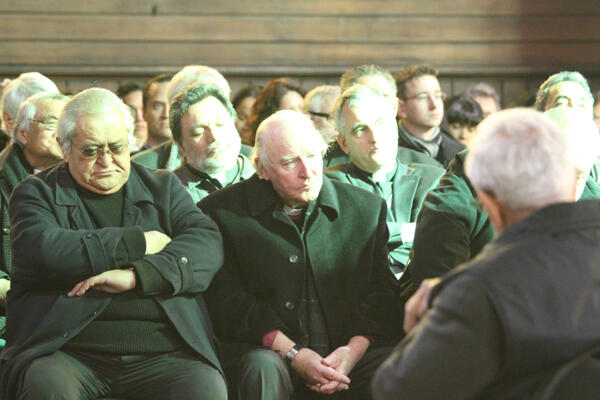 Archdeacon Hone Kaa (left) next to Bishop George Connor, sitting on the front row for the tangata whenua.