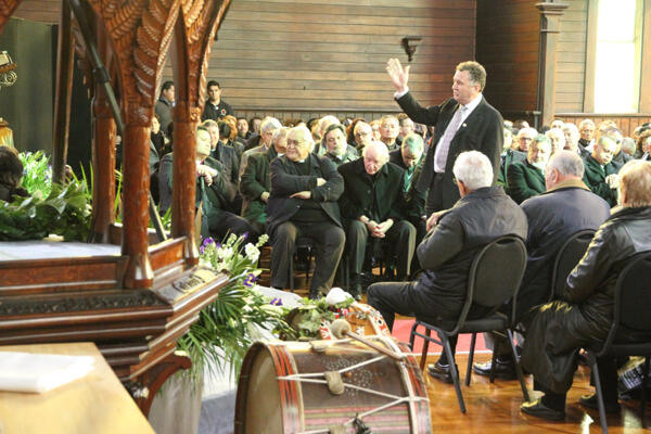 Shane Jones addresses Sir Paul and his family in his whaikorero.