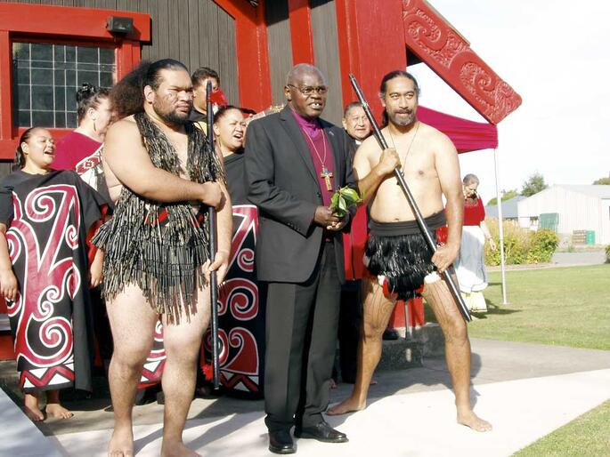 "Archbishop John Sentamu with his ""bodyguard"" during the welcome to Te Wai Pounamu on Sunday."