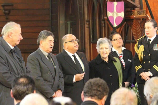 The vice-regal party sing their waiata. From left, Sir Don McKinnon, Lewis Moeau, and Sir Anand and Lady Susan Satyanand.