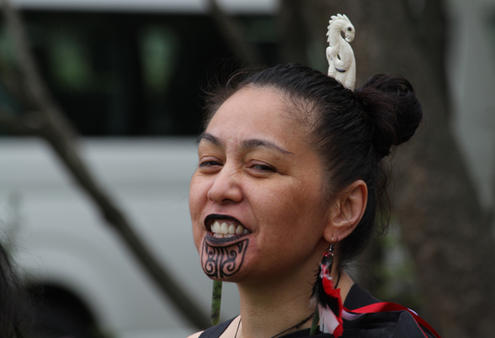 A young performer in the kapa haka troupe, Te Kotahitanga.