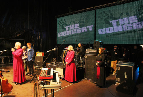 Archbishop Rowan addresses the crowd at last night's rock concert at AMI Stadium.