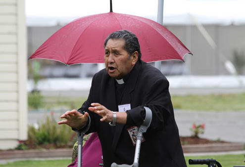 The Rev Wharakawa Kaa leads off the Waipounamu welcome to Archbishop Rowan.