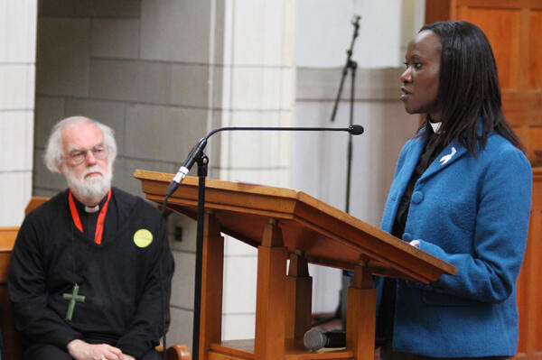 Irene Ayollo, a young Kenyan writer, speaks at the launch of a collection of Anglican youth reflections on mission.