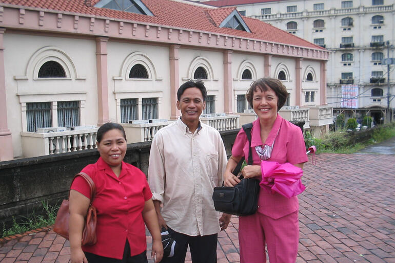 NZCMS missionary Dianne Bayley with colleagues in the Philippines, where she serves as National Director of 'Children's Bible Ministries'.