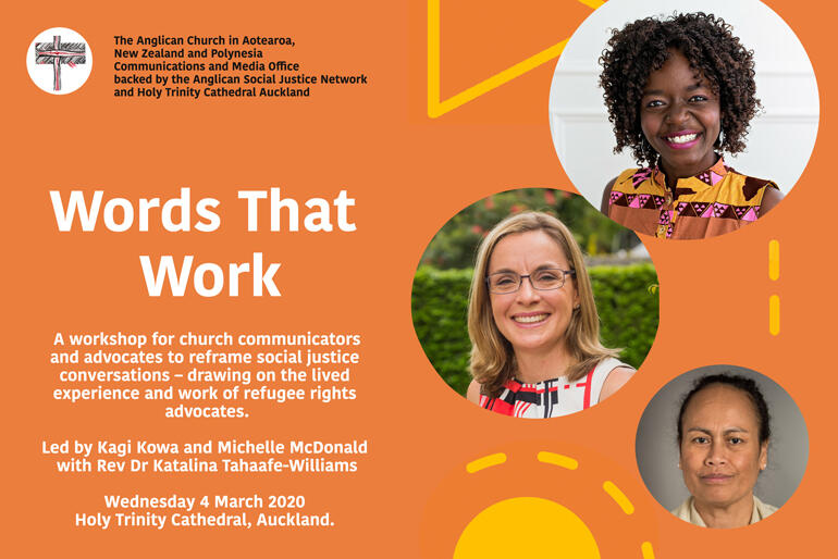 The 'Words That Work' inspired workshop will be led by (anticlockwise from top) Kagi Kowa & Michelle McDonald, with Rev Dr Katalina Tahaafe-Williams.