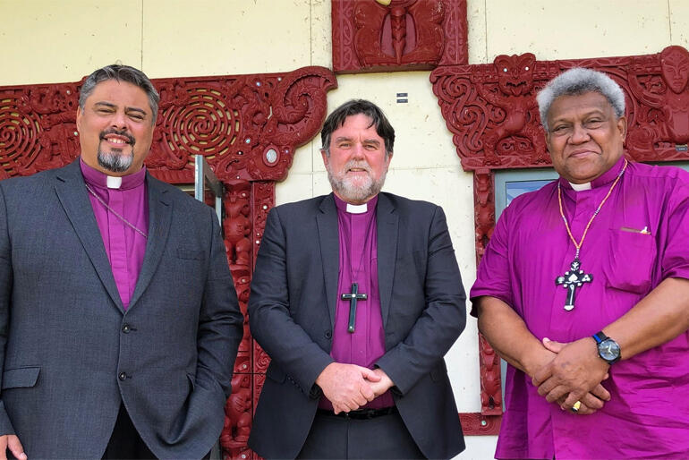 (L-R) Archbishop Don Tamihere, Archbishop Philip Richardson and Archbishop Fereimi Cama.