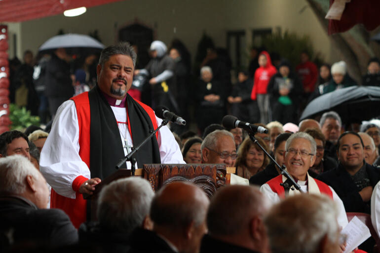 Archbishop Don Tamihere preaches at the 160th commemorations of the Māori King movement in May 2018.