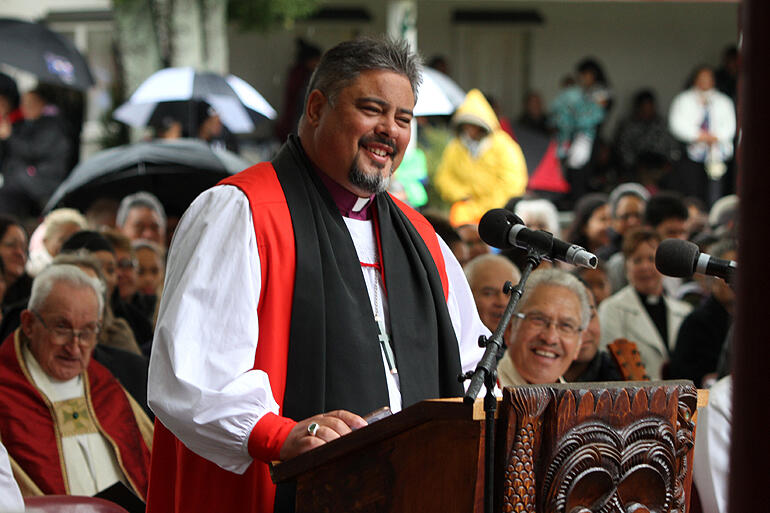 Archbishop Don Tamihere delivering his kauhau at the ecumenical service of thanksgiving for the 160th anniversary of the Kingitanga.