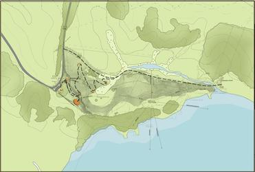 A plan view of the site - with the road at left, and the Marsden Cross at right. Visitors will follow the zig zag walkway and way stations.