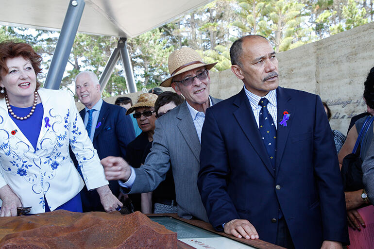 L-R: Conservation Minister Maggie Barry, Marsden Cross Trust Board Chairman John King and the Governor General, Sir Jerry Mateparae.