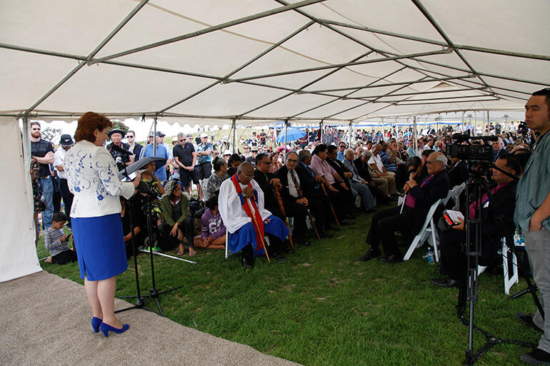 The Conservation Minister, the Hon Maggie Barry, addresses the VIPs in the main marquee.
