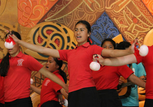 Pupils of Bernard Ferguson kura kaupapa Maori school at Ngaruawahi entertain at the lunch following the powhiri.