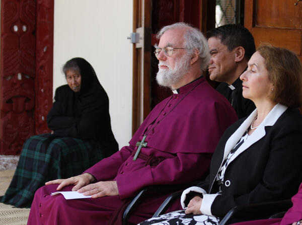 The Archbishop and his wife, Dr Jane Williams, listen intently to the oratory at Turangawaewae.