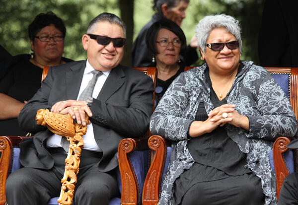 The Maori King and Queen take in the oratory at Turangawaewae.