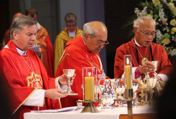 Archbishops David Moxon, Brown Turei and Winston Halapua concelebrate at the ACC's opening Eucharist.