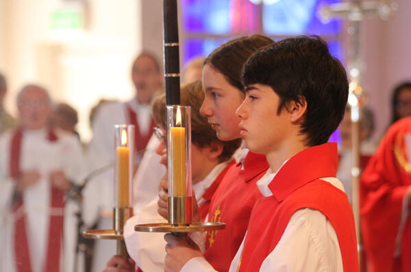 Servers at the ACC's opening Eucharist in Holy Trinity Cathedral: Campbell Thomson and Emily Griffiths.