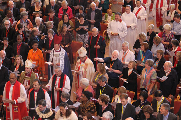 The New Zealand bishops process into Holy Trinity Cathedral.