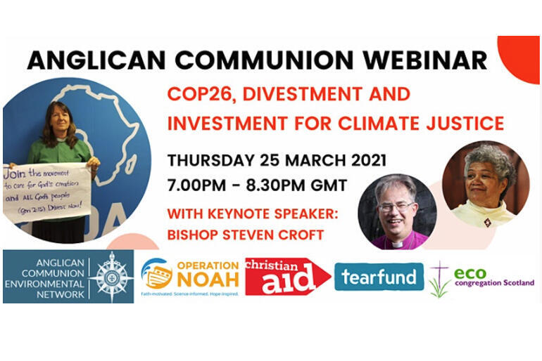 The Anglican Communion Environmental Network will hold an 8am webinar onFriday 26 March on how churches can divest from fossil fuels.
