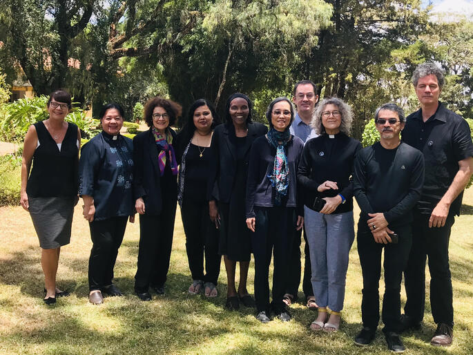 IAWN theological working group L-R: Carole H., Gloria M., Paula N., Moumita B., Esther M., K. Pui Lan, Stephen S., Terrie R., Paulo U. and Gerald W.
