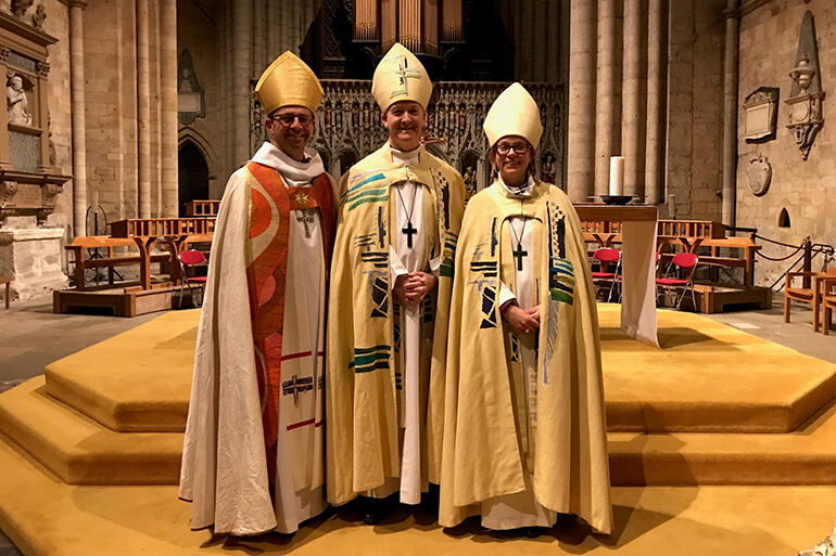 Bishop Andrew Hedge, of Waiapu - alongside Bishop Nick Baines, and the new Bishop of Ripon, Rt Rev Helen-Ann Hartley.