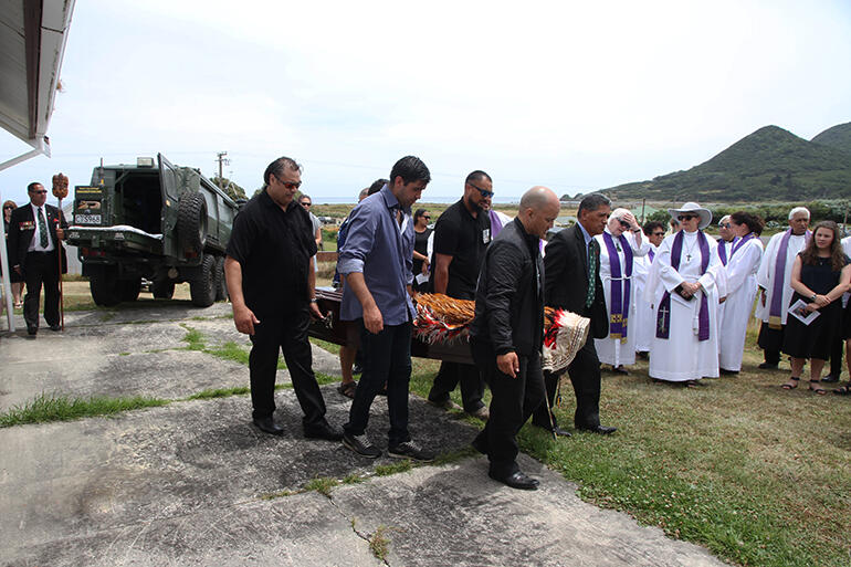 After the marae service, Archbishop Brown was taken up the hill to St John's church.
