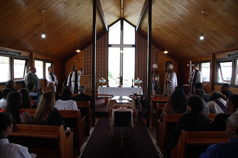 One last time the Archbishop filled the wee Anglican church at Whangaparaoua.