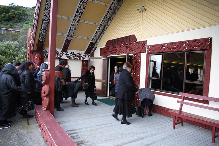 The manuhiri about to enter the wharenui. Whakatu kawa does not allow photos to be taken inside the house