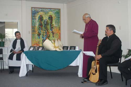 Archbishop Brown Turei blesses Te Paipera Tapu at the launch in Gisborne.