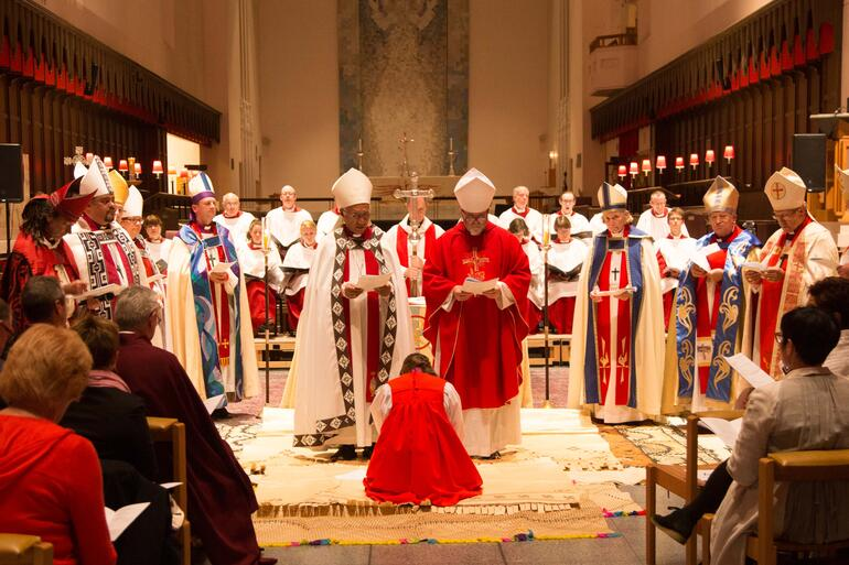 Bishops gather as Bishop-elect Eleanor prepares for her ordination. Photo: Jonathan Cutts Photography.