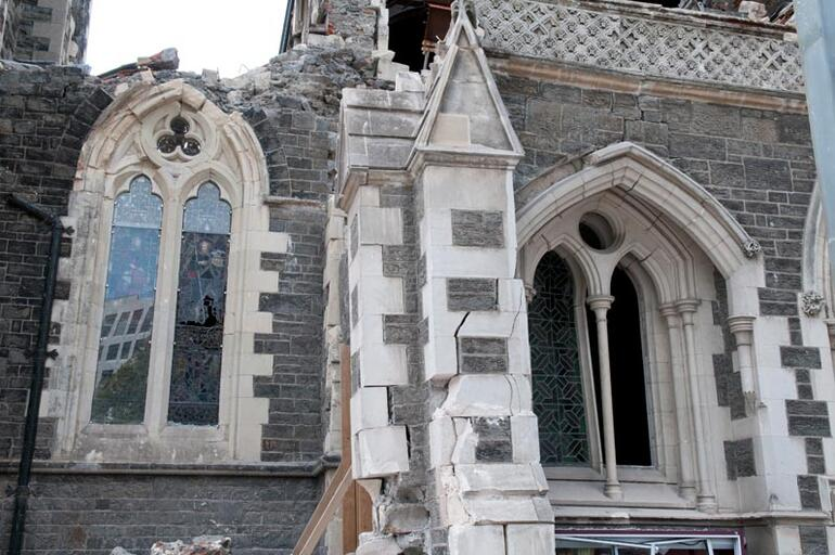 Part of the front entrance to ChristChurch Cathedral. The veranda was Benjamin Mountfort's crowning addition.