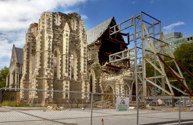 "ChristChurch Cathedral –  ""a very dangerous building,"" says the bishop. Photo: John Kirk-Anderson/Fairfax NZ"
