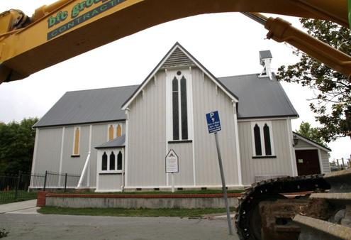 St Saviour's Chapel at Christchurch's Cathedral Grammar School. This photo was taken shortly after the February 2011 quake.